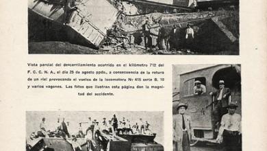 Photo of Colisión F.C.C.A y descarrilamientos en linea del estado y F.C.C.N.A – 1934